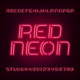 Fonte di alfabeto del tubo al neon Scriva le lettere ed i numeri a macchina Colore blu su un fondo scuro Fotografia Stock Libera da Diritti