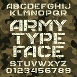 Fonte di alfabeto dello stampino dell'esercito Tipo lettere e numeri di lerciume sul fondo militare di camo illustrazione vettoriale
