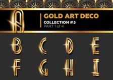 Fonte di Art Deco 3D di vettore Retro alfabeto dell'oro brillante Porcile di Gatsby Fotografie Stock