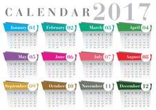 Fonte 2017 di Bodoni del calendario Fotografia Stock Libera da Diritti