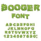 Fonte di Booger Iscrizione sdrucciolevole Piagnucoli l'alfabeto Melma verde le Fotografie Stock