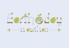 Fonte di Eco Linea sottile alfabeto con le foglie verdi Immagini Stock