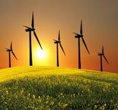 Fonte di energia alternativa dei generatori eolici Immagine Stock Libera da Diritti