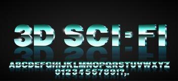 fonte di fantascienza 3d Immagine Stock