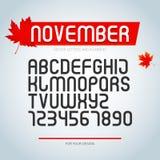 Fonte di novembre, insieme delle lettere stilizzate di alfabeto e numeri , tipo di carattere regolare progettazione alla moda di  royalty illustrazione gratis