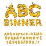 Fonte di Sinner Lettere dalle fiamme Scheletri in fuoco dell'inferno Hellfi Fotografie Stock