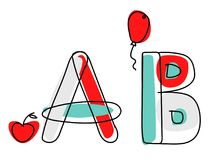 Fonte di vettore di Accendent Alfabeto del bambino con l'illustrazione Fotografia Stock Libera da Diritti