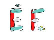 Fonte di vettore di Accendent Alfabeto del bambino con l'illustrazione Immagine Stock Libera da Diritti