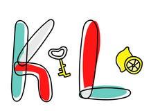 Fonte di vettore di Accendent Alfabeto del bambino con l'illustrazione Fotografia Stock