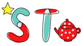 Fonte di vettore di Accendent Alfabeto del bambino con l'illustrazione Immagini Stock