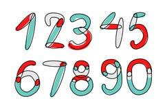 Fonte di vettore di Accendent Numeri di alfabeto del bambino Fotografia Stock