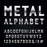 Fonte di vettore di alfabeto del metallo Fotografia Stock