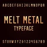 Fonte di vettore di alfabeto del metallo della colata Immagine Stock Libera da Diritti