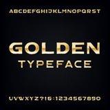 Fonte di vettore dorata di alfabeto Lettere e numeri audaci metallici moderni Immagini Stock
