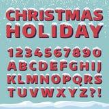 Fonte di vettore di festa di Natale Retro lettere 3d con i cappucci della neve illustrazione vettoriale