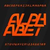 Fonte di vettore moderna di alfabeto Tipo obliquo lettere e numeri su un fondo scuro royalty illustrazione gratis