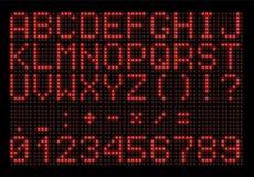 Fonte digitale del LED su fondo nero Immagini Stock