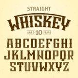 Fonte diritta dell'etichetta del whiskey con schema di campionamento illustrazione di stock