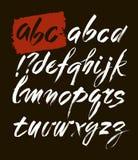 Fonte disegnata a mano di alfabeto di stile acrilico della spazzola di vettore ABC per la vostra progettazione, iscrizione della  Fotografia Stock