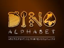 Fonte disegnata a mano di arte di vettore Lettere sveglie di paleontologia illustrazione vettoriale