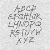 Fonte disegnata a mano e schizzata, alfabeto di stile di schizzo di vettore Immagini Stock