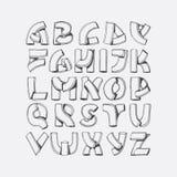 Fonte disegnata a mano, imitazione delle lettere 3d Sequenza di ABC da A alla Z, isolata su fondo Illustrazione di alfabeto, buon Immagini Stock Libere da Diritti