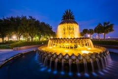 A fonte do abacaxi na noite, no parque de margem em Charleston, South Carolina imagens de stock royalty free