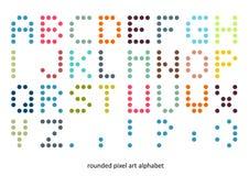 Fonte do alfabeto da arte do pixel nas cores pastel Imagens de Stock Royalty Free