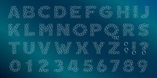 Fonte do alfabeto da bolha A água borbulha letras e números ilustração do vetor