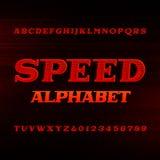 Fonte do alfabeto da velocidade Letras e números dinâmicos oblíquos ilustração royalty free