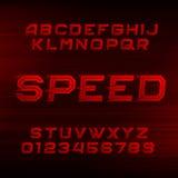 Fonte do alfabeto da velocidade Letras e números vermelhos dinâmicos oblíquos ilustração do vetor