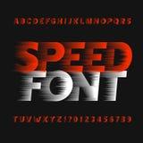 Fonte do alfabeto da velocidade Tipo letras e números do efeito de vento em um fundo escuro ilustração stock