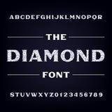 Fonte do alfabeto do diamante Letras e números brilhantes Caráter tipo conservado em estoque do vetor Fotos de Stock Royalty Free
