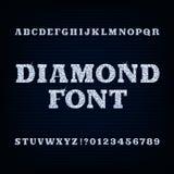 Fonte do alfabeto do diamante Tipo brilhante letras e números ilustração do vetor