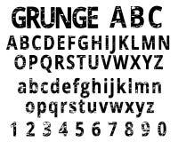 Fonte do alfabeto e do numeral do Grunge Fotografia de Stock Royalty Free