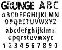 Fonte do alfabeto e do numeral do Grunge Imagens de Stock