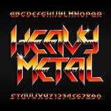 Fonte do alfabeto do metal pesado Letras e números brilhantes no estilo do hard rock ilustração royalty free