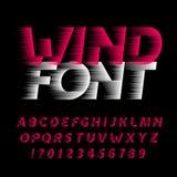 Fonte do alfabeto do vento Tipo letras e números do efeito da velocidade rápida no fundo preto ilustração do vetor