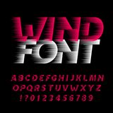 26d1eac18 Fonte do alfabeto do vento Tipo letras e números do efeito da velocidade  rápida no fundo