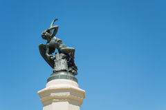 Fonte do anjo caído, parque da retirada agradável, Madri Imagens de Stock