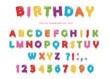 Fonte do balão do aniversário Letras e números festivos de ABC colorido ilustração stock