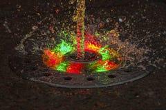 Fonte do jato do luminoso do diodo emissor de luz na noite Foto de Stock Royalty Free