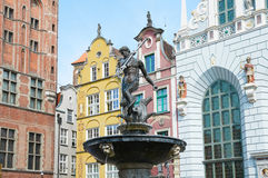 Fonte do Netuno na cidade velha de Gdansk Fotografia de Stock