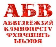 Fonte do russo do ano novo, inverno, vermelho, vetor Imagem de Stock