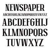 Fonte do Serif no estilo do jornal ilustração royalty free