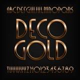 Fonte dorata di alfabeto di art deco Lettere, numeri e simboli di effetto dell'oro illustrazione vettoriale
