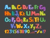 Fonte drôle de bandes dessinées Alphabet anglais de lowcase tiré par la main et de bande dessinée colorée majuscule avec les lett Image libre de droits