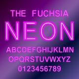 Fonte e números de néon vermelhos abstratos Fotografia de Stock