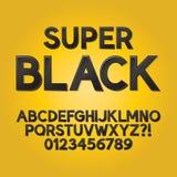 Fonte e números pretos abstratos da máscara Foto de Stock