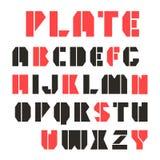 Fonte e numeral da estêncil-placa de Sans Serif Imagem de Stock Royalty Free